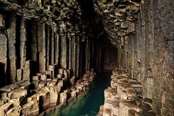Pillar structures of Fingals Cave on the Isle of Staffa, just off the coast of the Isle of Mull, Scotland