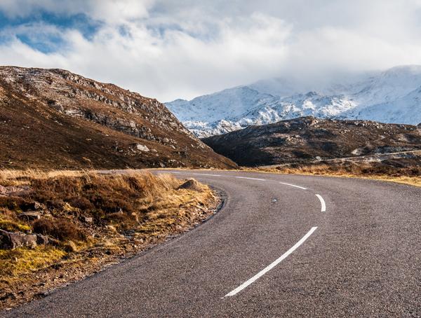 Scotland road in the winter