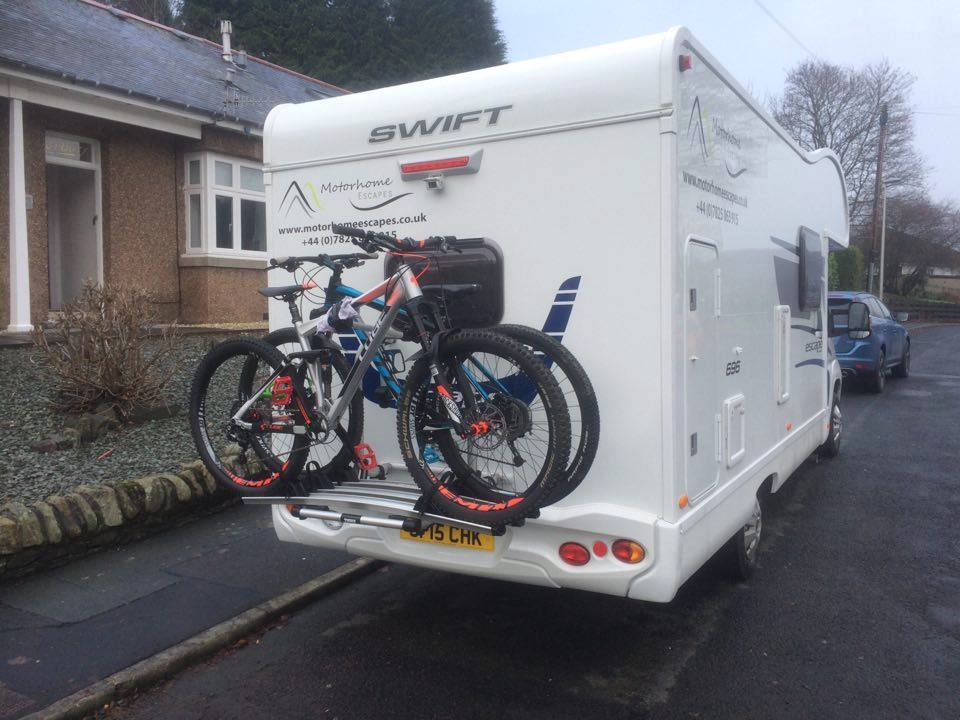 Our motorhomes have sturdy bike racks to transport your mtb chariots in style