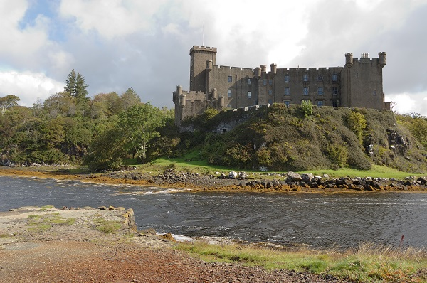 Dunvegan Castle and harbour on the beautiful Isle of Skye, Scotland