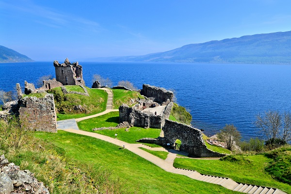 The majestic ruins of Urquhart Castle at Loch Ness