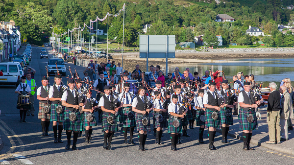 bagpipe parade highland games ullapool