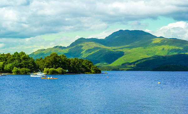 The relaxing view across Loch Lomond from the village of Luss