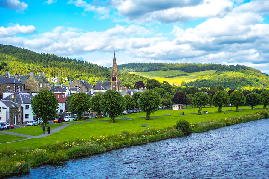 Panorama of Peebles with the river Tweed