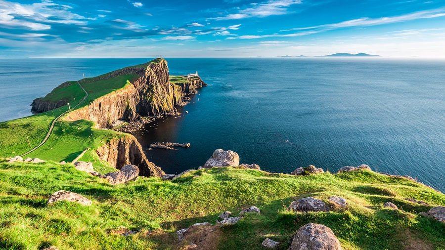 Dusk at the famous Neist Point on the Isle of Skye