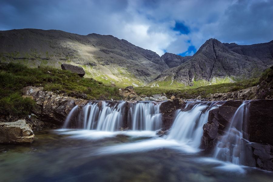 Fairy Pools near Glen Brittle on the Isle of Skye – keep an eye out for the black van of the Cuilin Coffee Company!