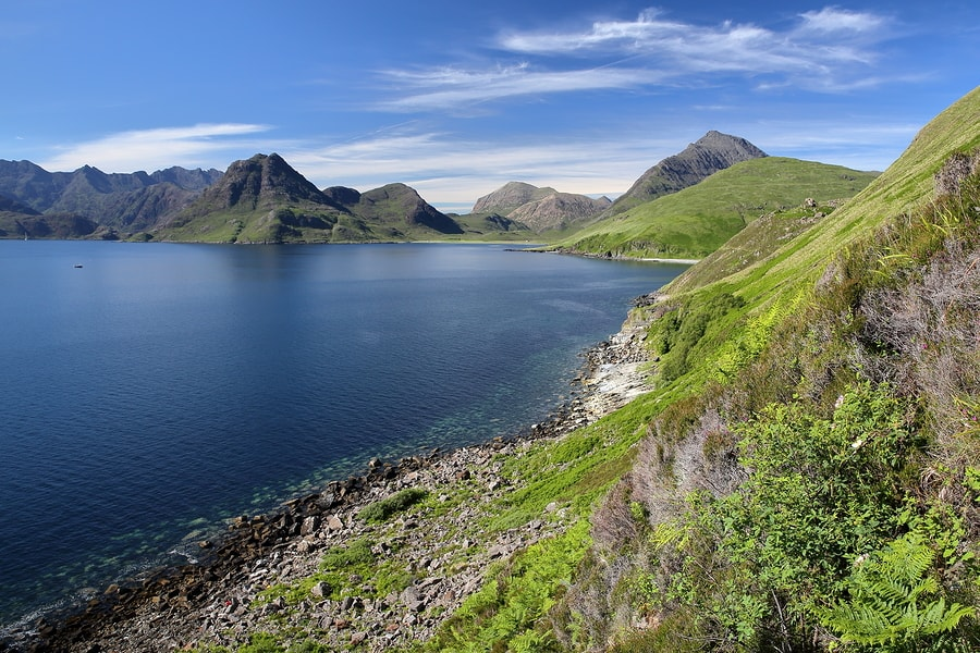 View of Black Cuilin Mountains across Loch Scavaig from Elgol