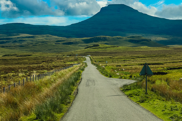 Scotland's Highlands and Islands often use single track roads with frequent passing places. These roads are less manicured than larger roads, but often have the most spectacular views! Photo credit: John M.
