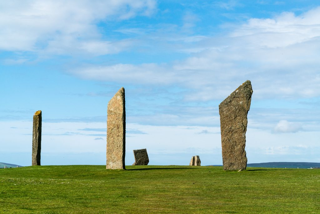 Six of the standing stones of Stenness a neolithic henge monument on the Isle of Orkney, Scotland UK near the Ring of Brodgar and Maeshowe