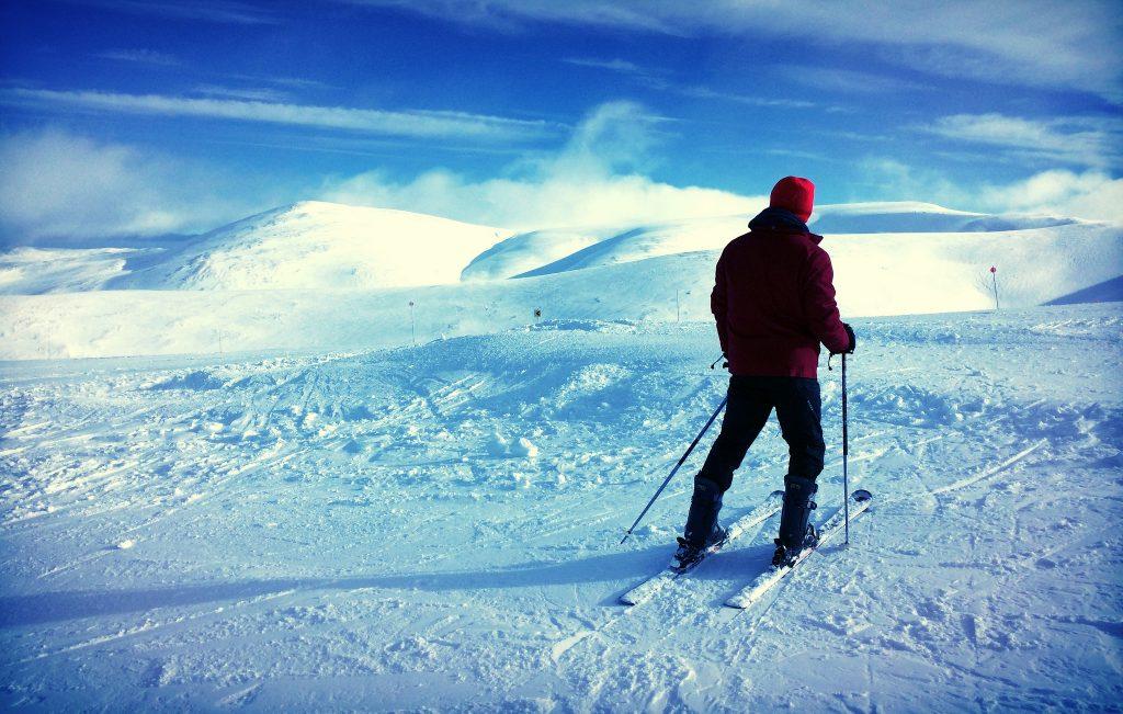 Skiing on the Glenshee Mountain range in Scotland