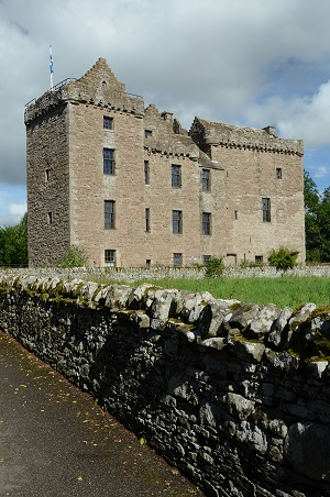 An exterior view of the medieval castle of Huntingtower