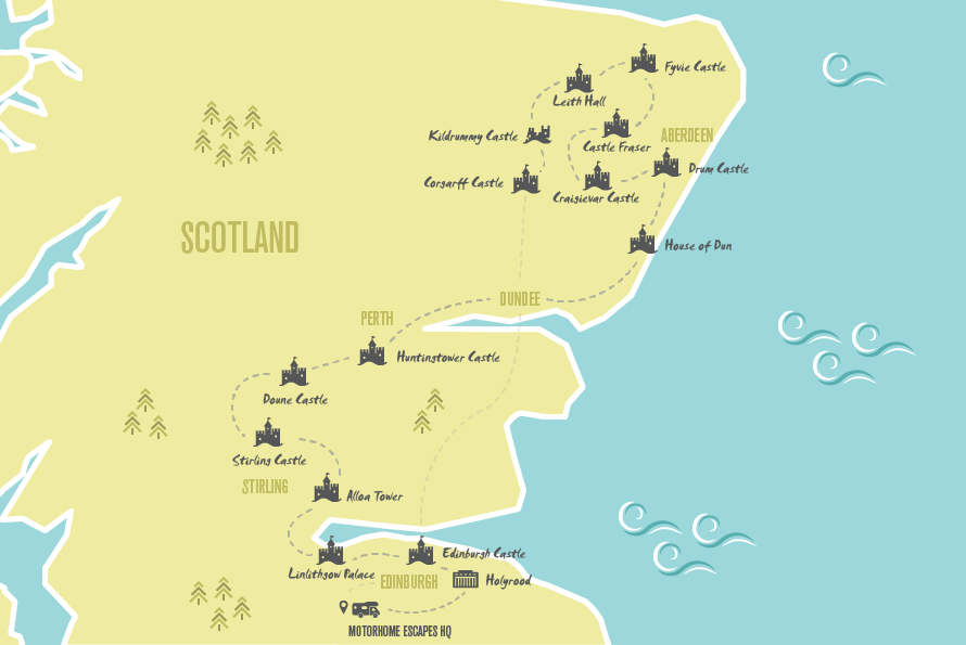 Our Motorhome Escapes map of the Jacobite trail outlined in this article, which mostly covers the east of Scotland. Your journey begins in the South East outside Edinburgh, where you will pick up your motorhome, and concludes in Corgarff Castle in the North.