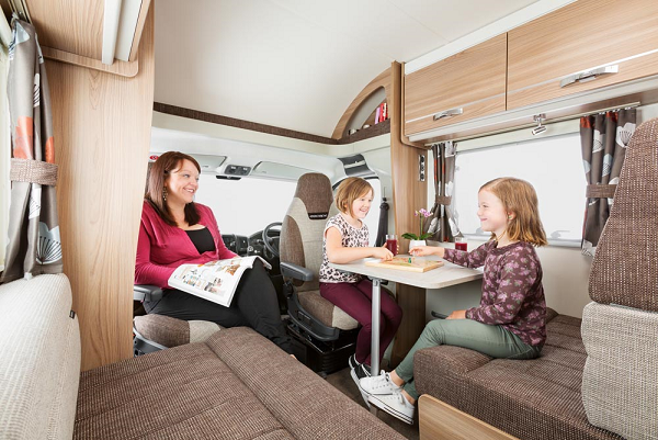 Spacious living area in a coach-built motorhome