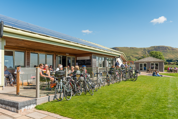 Cyclists take a break outside Loch Leven's Larder, which offers many tasty treats and lunches for all the family