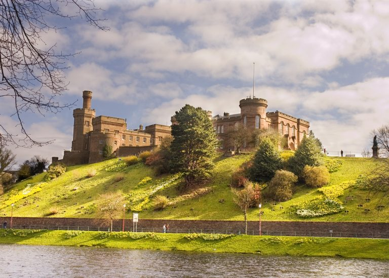Inverness Castle on the banks of the river Ness in Inverness Scotland