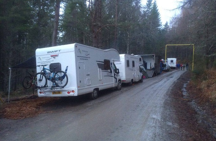 Motorhome rentals can be a great way to sample the muddy delights of a Scottish biking festival!