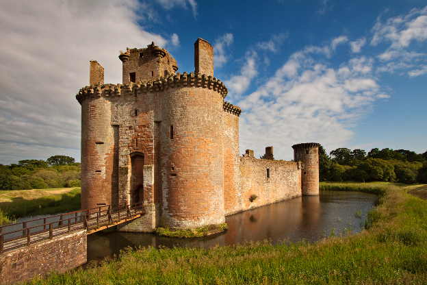 Caerlaverock Castle in Dumfries, with its unique triangular shape