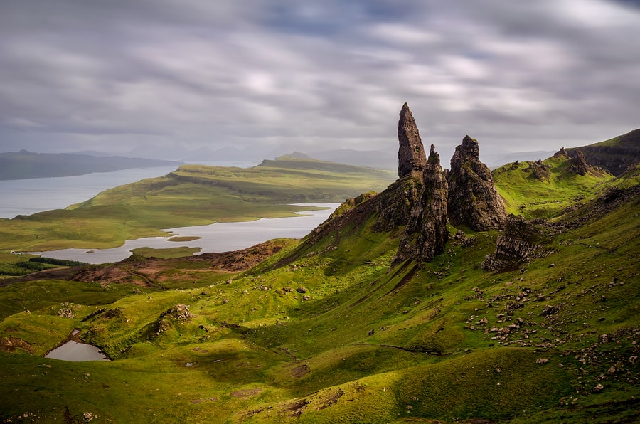 The Old Man of Storr is a popular spot for tourists to visit in the North of Skye. There's a longer, challenging walk that goes on out past it as well.