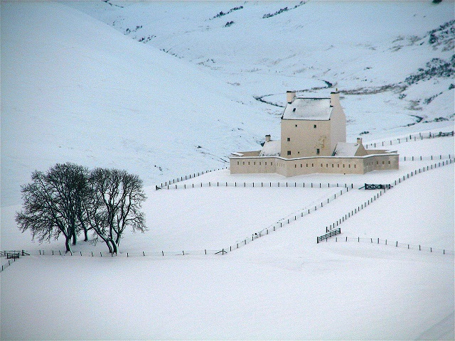 Corgarff Castle surrounded by snow. The castle is open between 1st April and 31st October. Photo credit: Mason Taylor/Simon Taylor