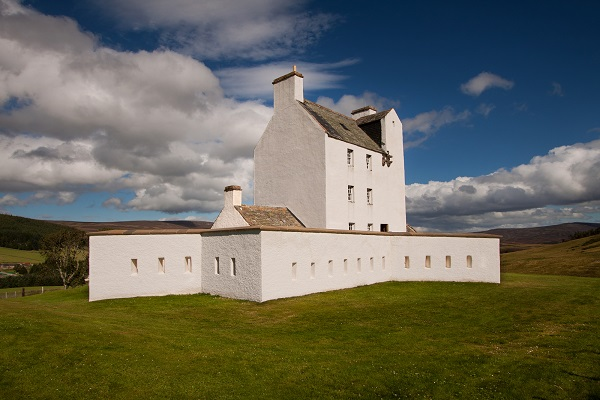 Corgarff Castle, Aberdeenshire, Scotland. A tower house fortress with an unusual star shaped perimeter wall built around 1550 by the Forbes clan.