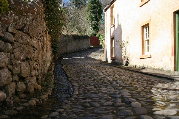 cobbled strees of cromarty, black isle, scotland